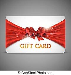 rød, gave card, bøje sig