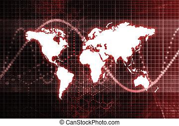 rød, global branche, økonomi, abstrakt