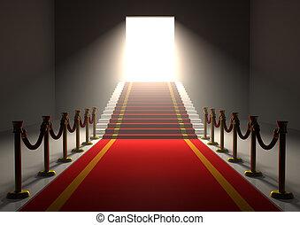 rød gulvtæppe, indgang