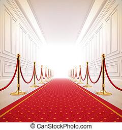 rød gulvtæppe, sti, til, held, light.