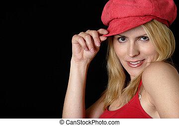 rød, holdning, kvinde