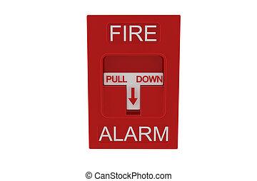 rød, ild alarmer