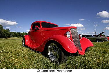rød, klassisk vogn