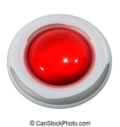 rød knap, isoleret, på hvide, baggrund.