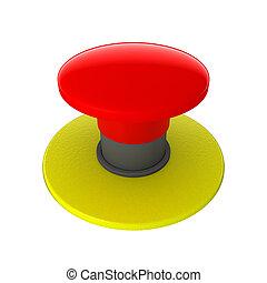 rød knap, isoleret, på hvide