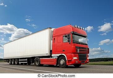 rød, lastbil, hos, hvid, anhængeren, hen, blå himmel