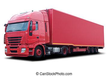 rød lastbil