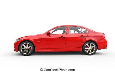 rød, magt, automobilen, side udsigt