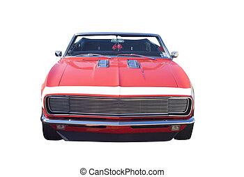 rød, muskel, automobilen, konvertibel