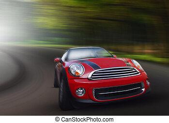 rød, passager vogn, kørende, på, asfalter vej, ind, kurve,...