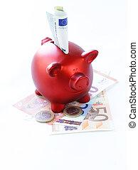 rød, piggy bank, hos, banknotes euro