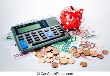 rød, piggy bank, hos, regnemaskine, og, penge.