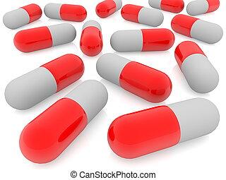 rød, pillerne, på hvide, baggrund