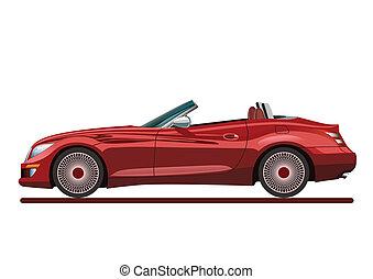 rød, smukke, sport, automobilen