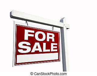 rød, til salg, egentlig estate underskriv, på hvide