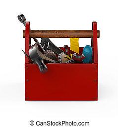 rød, toolbox, hos, tools., sckrewdriver, hammer, håndsave, og, wrench., konstruktion under, opretholdelsen, fastlægge, reparer, premium, service., høj, kvalitet, render, isolated.