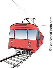 rød, undergrundsbane, eller, underjordisk, tog