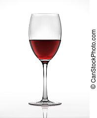 rød vin, glas, gennemset, af, en, side., på hvide, baggrund.