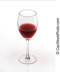 rød vin, glas., på hvide, baggrund.