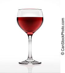 rød vin, glas, på hvide, overflade, og, baggrund, gennemset, af, en, side., udklip sti, included.
