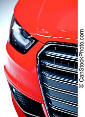 rød vogn, forside, closeup