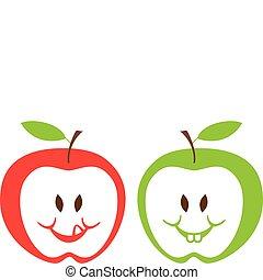 røde grønne, æbler, vektor