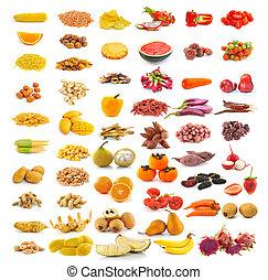 røde gule, mad, samling, isoleret, på hvide, baggrund