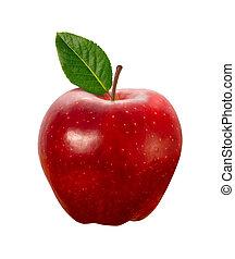 rødt æble, isoleret, hos, udklip sti