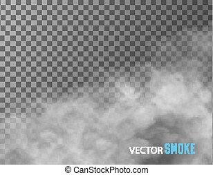 røg, vektor, på, transparent, baggrund.
