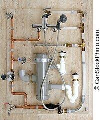 rørarbejde, kobber, polyethylene, installation, pvc