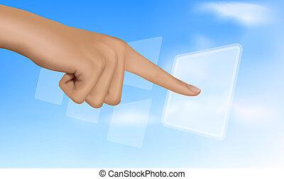røre, selskab., løsning, hånd, button.