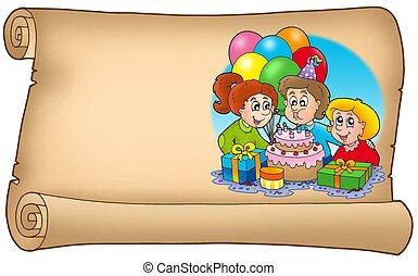 rúbrica, con, celebrar, niños