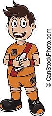 rúgbi, desporto, -, caricatura, ilustração