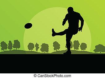 rúgbi, tocando, homem, silueta, em, campo, natureza, fundo, il