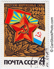 rússia, -, circa, 1968, :, selo, impresso, em, rússia, mostra, militar soviético, exército, circa, 1968