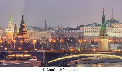 rússia, moscou, noturna, vista, de, a, moskva, rio, ponte,...