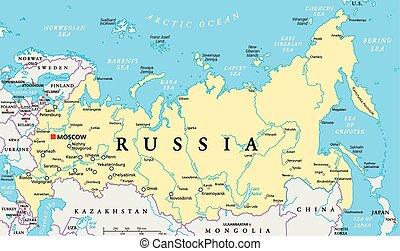 rússia, político, mapa