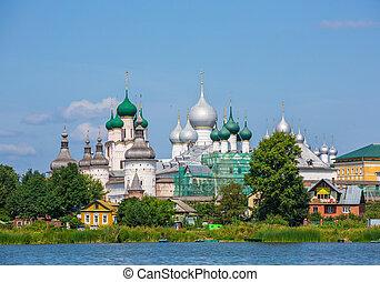 rússia, rostov, kremlin, dourado, anel