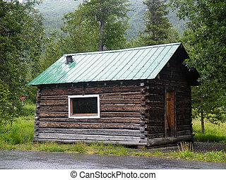 rústico, alasca, cabana, registro