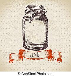rústico, albañil, y, envase, tarro, vendimia, mano,...