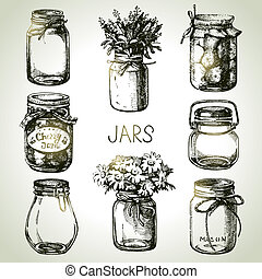rústico, albañil, y, envase, tarros, mano, dibujado, set.,...
