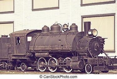 rústico, antigas, locomotiva