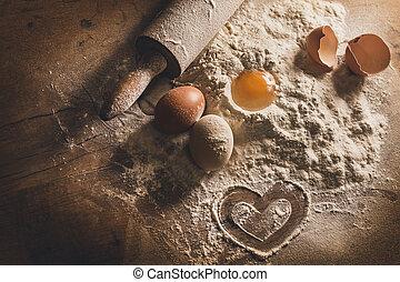 rústico, assando, com, símbolo, de, coração, em, farinha