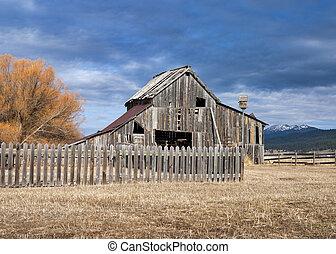 rústico, birdhouse, cerca, piquete, granero