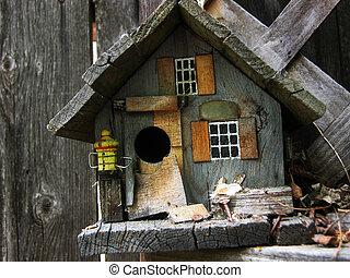 rústico, birdhouse