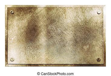 rústico, bronze, metal, textura, sinal