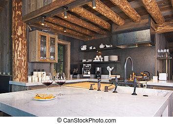 rústico, cabana, cozinha