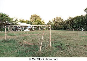rústico, campo, futebol, portão
