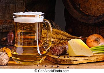 rústico, cena, cerveza