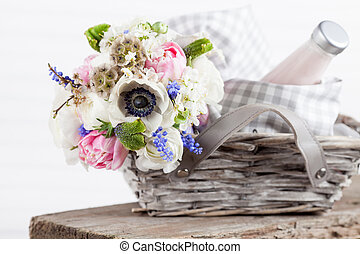 rústico, cesta, flores, piquenique